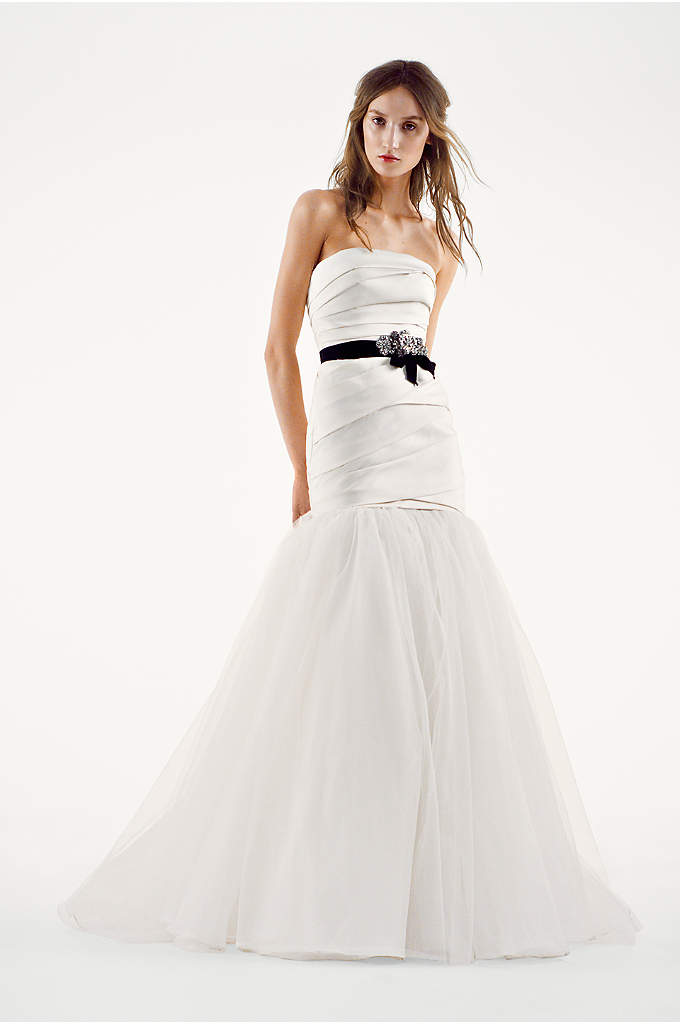 White by Vera Wang Tulle Trumpet Wedding Dress - Mikado fit-and-flare wedding dress with draped bodice and