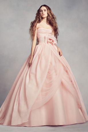White by vera wang draped organza wedding dress davids bridal mouse over to zoom junglespirit Choice Image