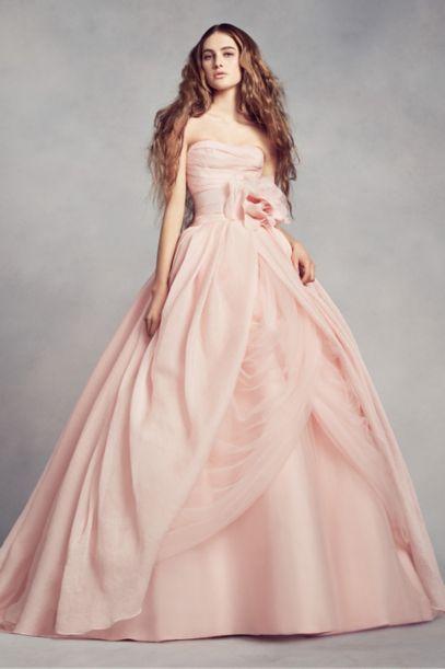 White by Vera Wang Draped Organza Wedding Dress Davids Bridal