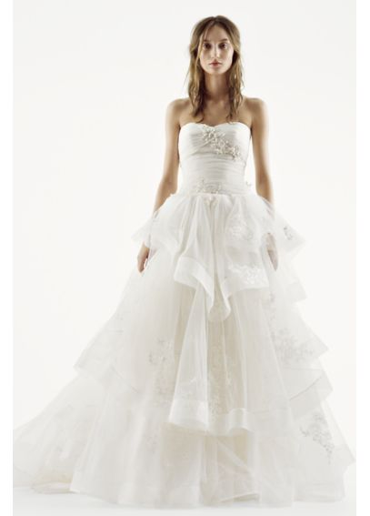 White by vera wang tiered tulle wedding dress davids bridal for Vera wang princess ball gown wedding dress