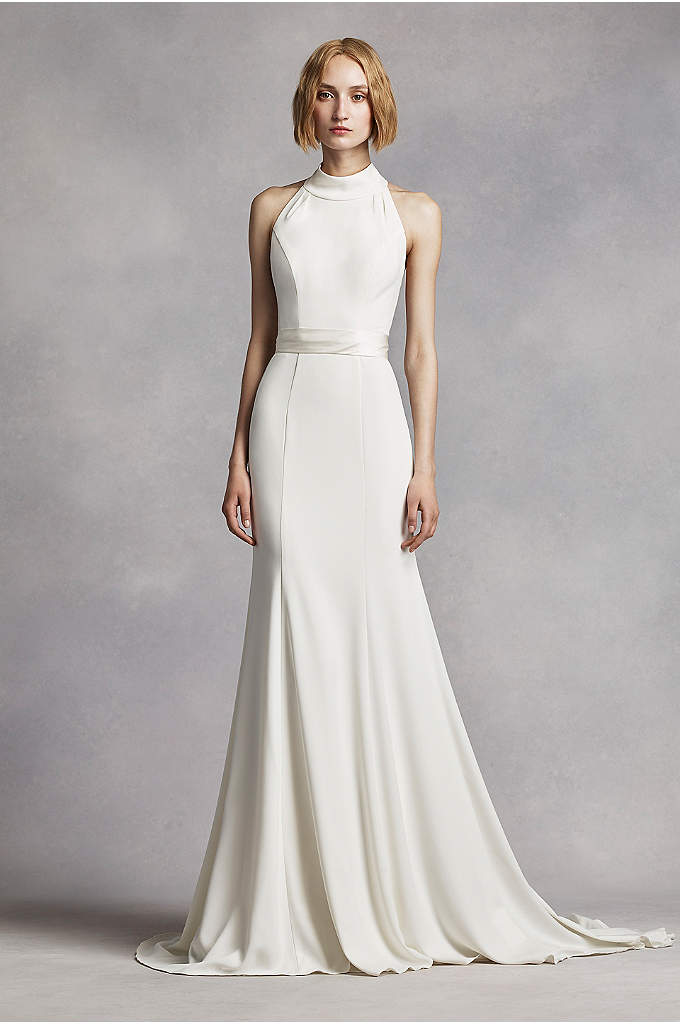 Extra Length High Neck Halter Crepe Sheath Gown - This minimalist chic crepe gown will have you