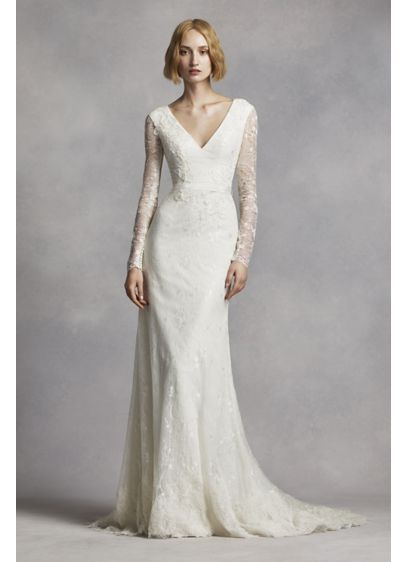 White by vera wang lace sleeve wedding dress david 39 s bridal for Average price of vera wang wedding dress