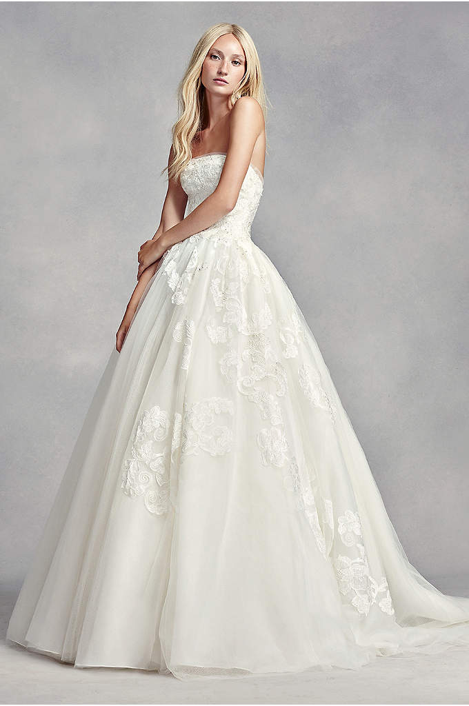 White by Vera Wang Beaded Lace Wedding Dress - This classic, strapless ball gown features exaggerated botanical