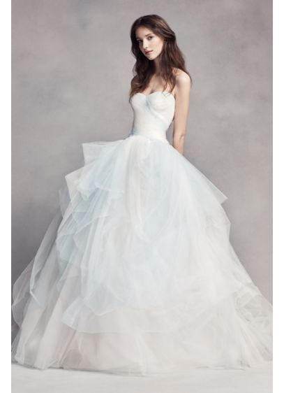 White by vera wang hand draped wedding dress davids bridal for How to start a wedding dress shop