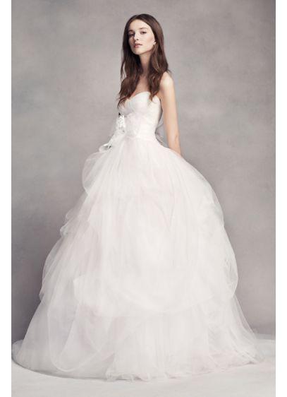 White by vera wang draped tulle wedding dress david 39 s bridal for David s bridal tulle wedding dress