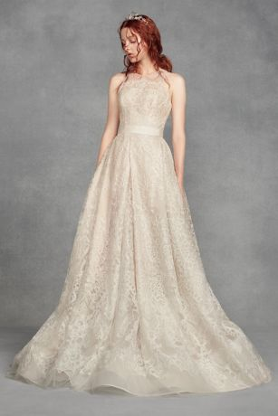 White by vera wang lace a line wedding dress david 39 s bridal for Vera wang tea length wedding dress