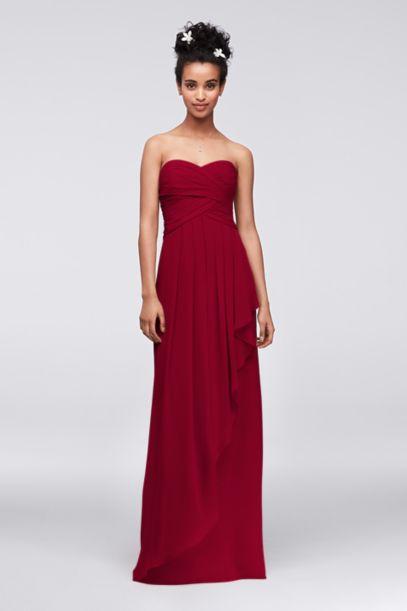 Extra Length Strapless Crinkle Chiffon Dress | David's Bridal