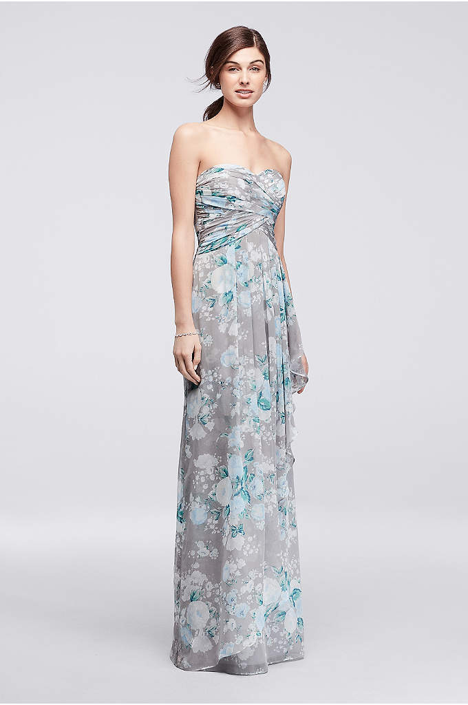 Printed Strapless Crinkle Chiffon Bridesmaid Dress - Simply stunning, your bridal party is sure to