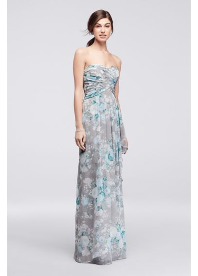 Printed Strapless Crinkle Chiffon Bridesmaid Dress 4XLW10840P