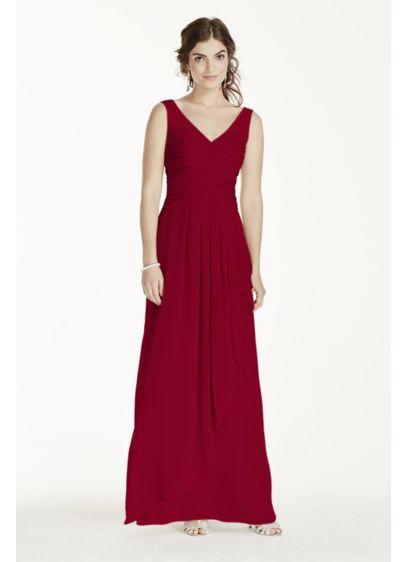 Long Grey Soft & Flowy David's Bridal Bridesmaid Dress