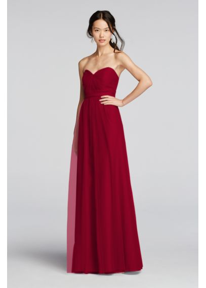 Extra Length Strapless Tulle Long  Dress with Belt 4XLW10888
