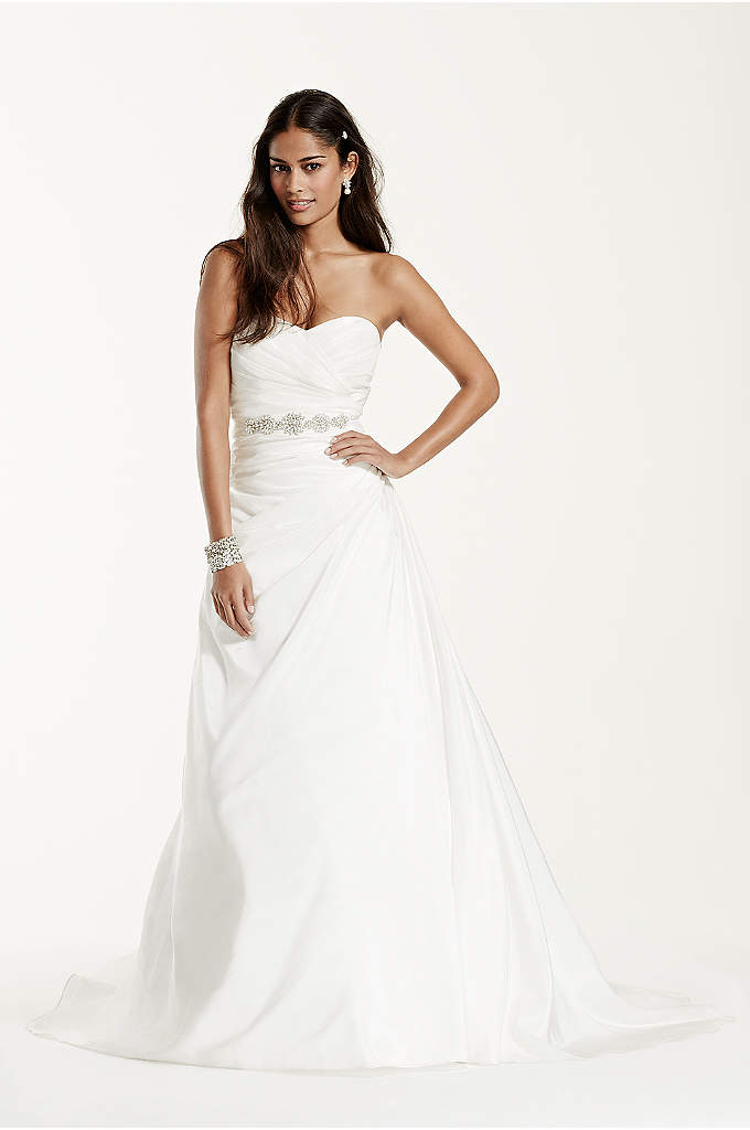 Extra Length Taffeta A Line Gown - Simple yet stunning, this taffeta gown is a