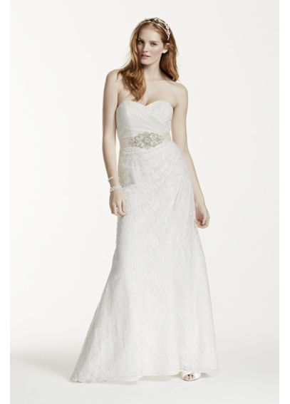 Extra Length Lace Over Satin Wedding Dress 4XLWG3263