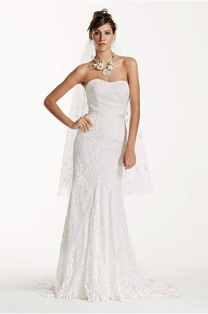 Extra Length Strapless Lace Gown Ribbon Detail - Be picture perfect in this ultra feminine lace