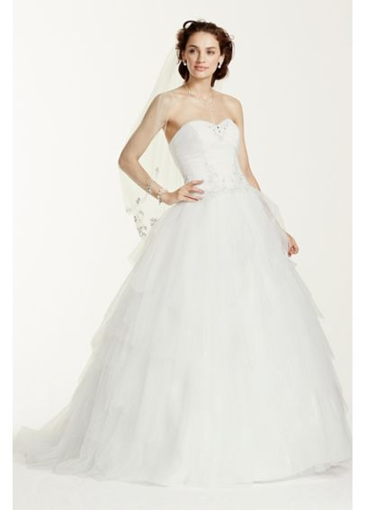 Jewel Strapless Tulle Wedding Dress 4XLWG3722