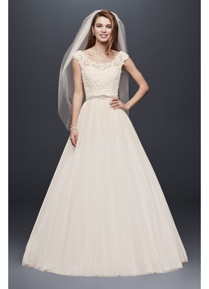 Illusion Neckline Wedding Dress With Tulle Skirt Davids