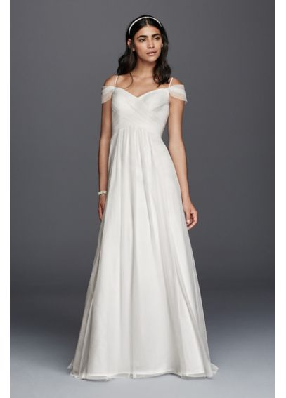Tulle a line swag sleeve wedding dress davids bridal for Wedding dress with swag sleeves