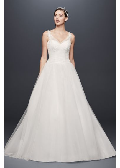 Tulle Ball Gown Wedding Dress with Illusion Straps 4XLWG3786
