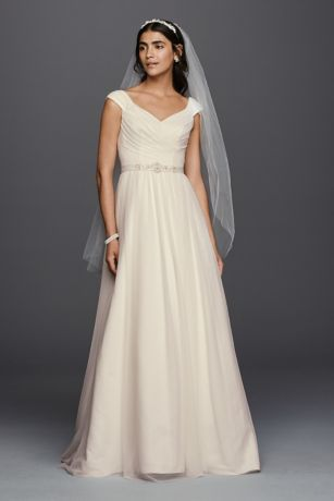 Delightful Long A Line Simple Wedding Dress   Davidu0027s Bridal Collection