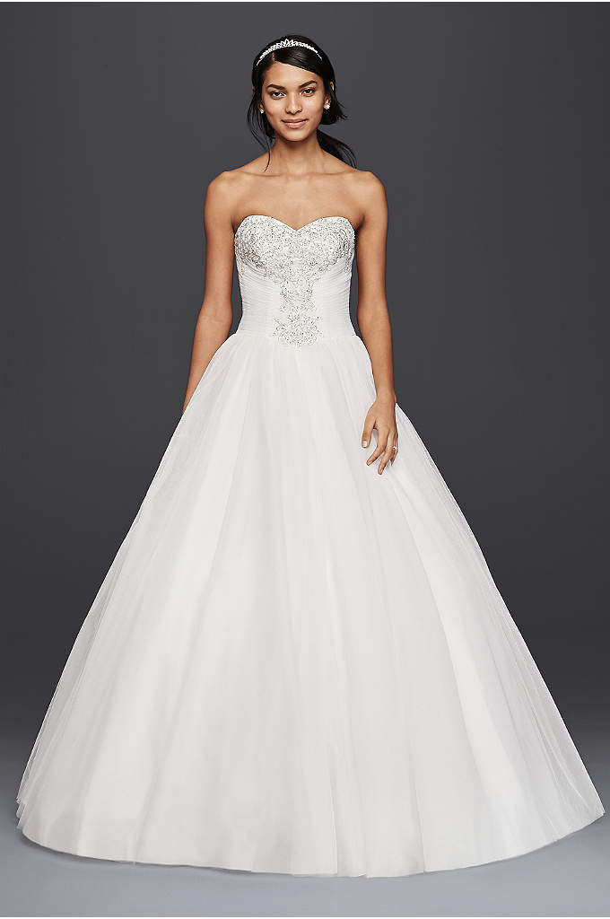 Strapless Ball Gown Wedding Dress with Beaded Lace - Fitting for a modern-day royal, this strapless tulle