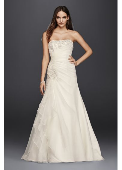 Ruched A-Line Wedding Dress with Appliques  4XLWG3807