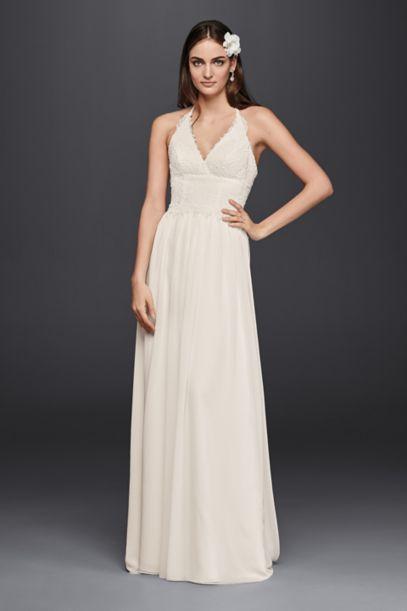 Lace halter wedding dress davids bridal