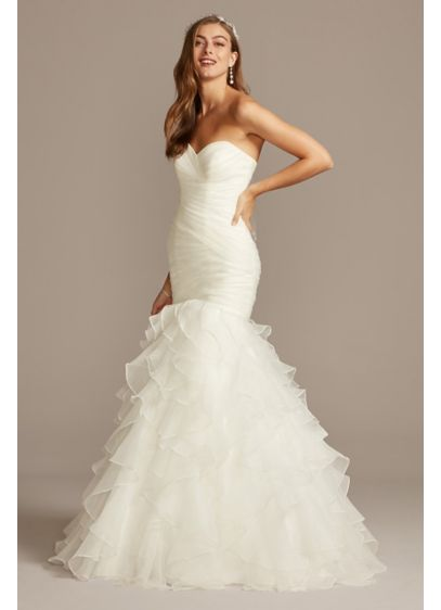 Organza mermaid wedding dress with lace up back david 39 s for Wedding dresses with lace up back