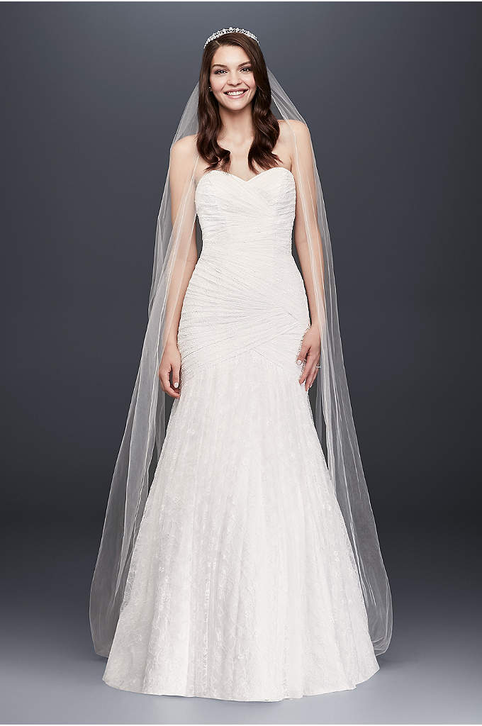 Allover Lace Strapless Mermaid Wedding Dress - This curve-hugging lace extra length mermaid gown has