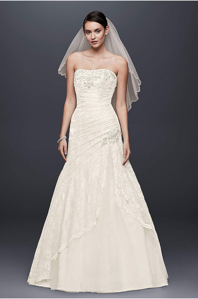 Lace Wedding Dress with Beading and Side Split - Effortlessly beautiful, this lace gown combines modern trends