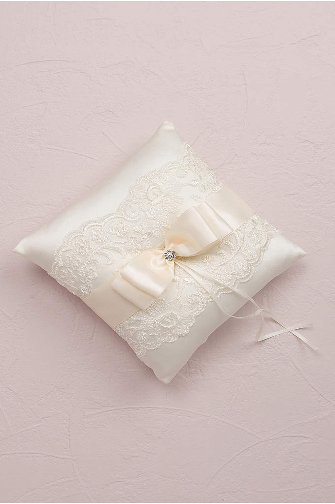 French Lace Ring Bearer Pillow - The delicate lace embellishments and satin bow make