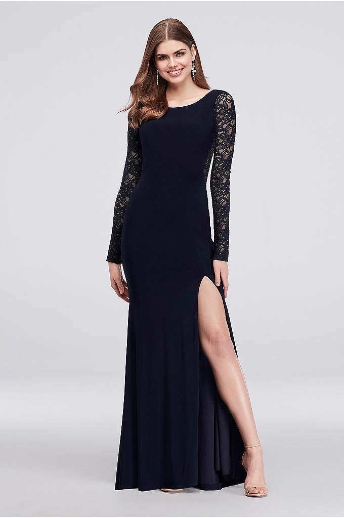 Long-Sleeve Sheath with Illusion Glitter Lace - This figure-following jersey sheath dress gives off a