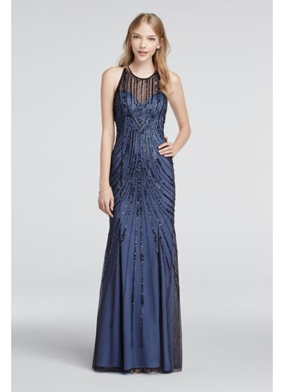 Long Sheath Halter Prom Dress - Sean Collections