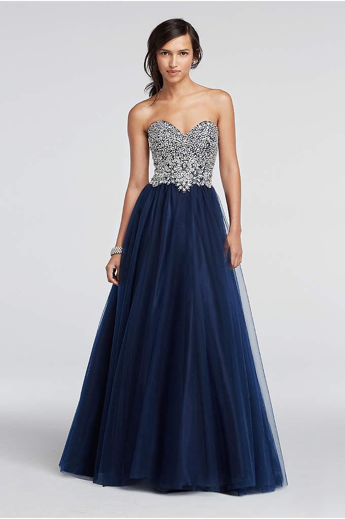 Heavily Beaded Strapless Tulle Prom Dress