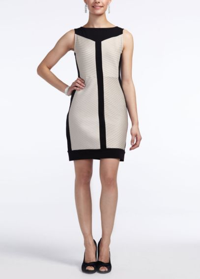 Short Sleeveless Color Blocked Jersey Dress 50656