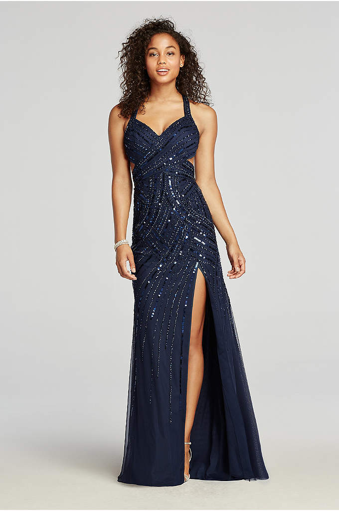 Halter Beaded Prom Dress with Thigh High Slit