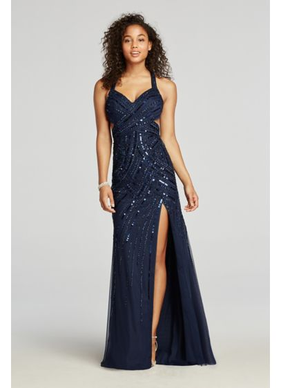Long A-Line Halter Prom Dress - Sean Collections