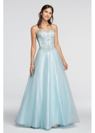 Crystal Embellished Drop Waist Tulle Prom Dress 50907