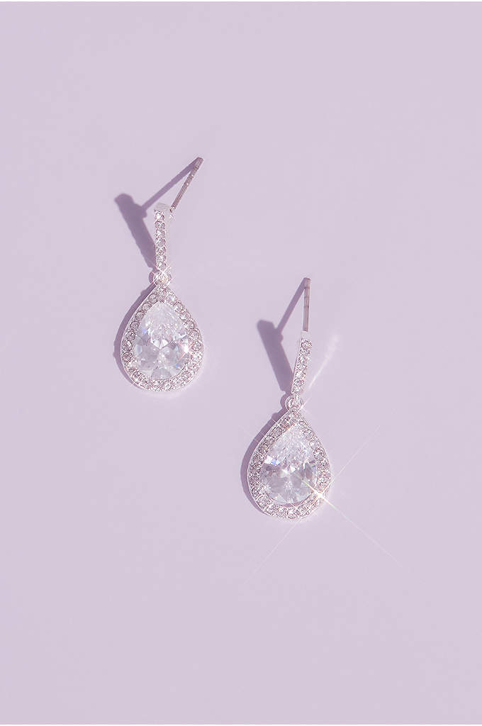 Pear Solitaire Pave Earrings - Sparkling pave crystals frame pear drop crystals on
