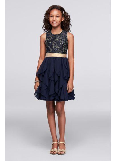 Short Blue Soft & Flowy Youngland Bridesmaid Dress