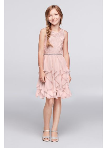 Short Pink Soft & Flowy Emily West Bridesmaid Dress