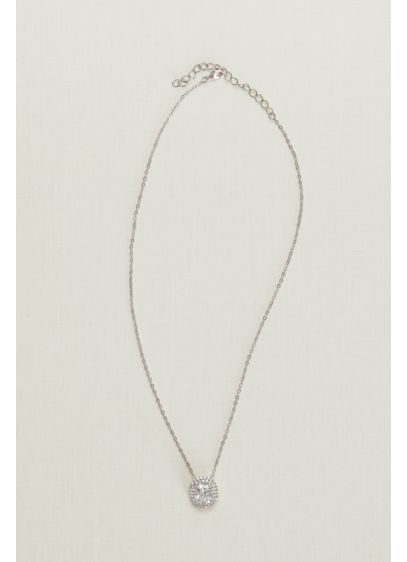 Solitaire Pave Halo Necklace - Wedding Accessories
