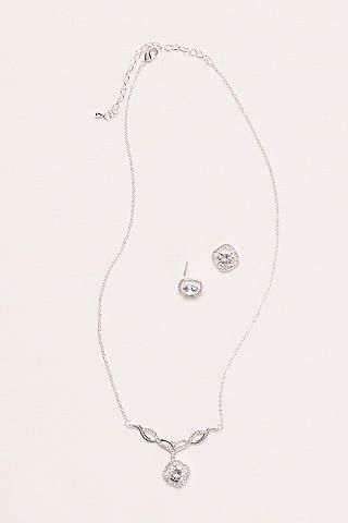 Set de Aretes y Collar Con Cristales