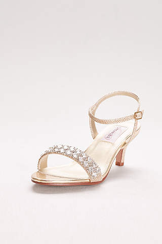 Dyeables Grey Sandals Metallic Low Heel With Crystal Strap