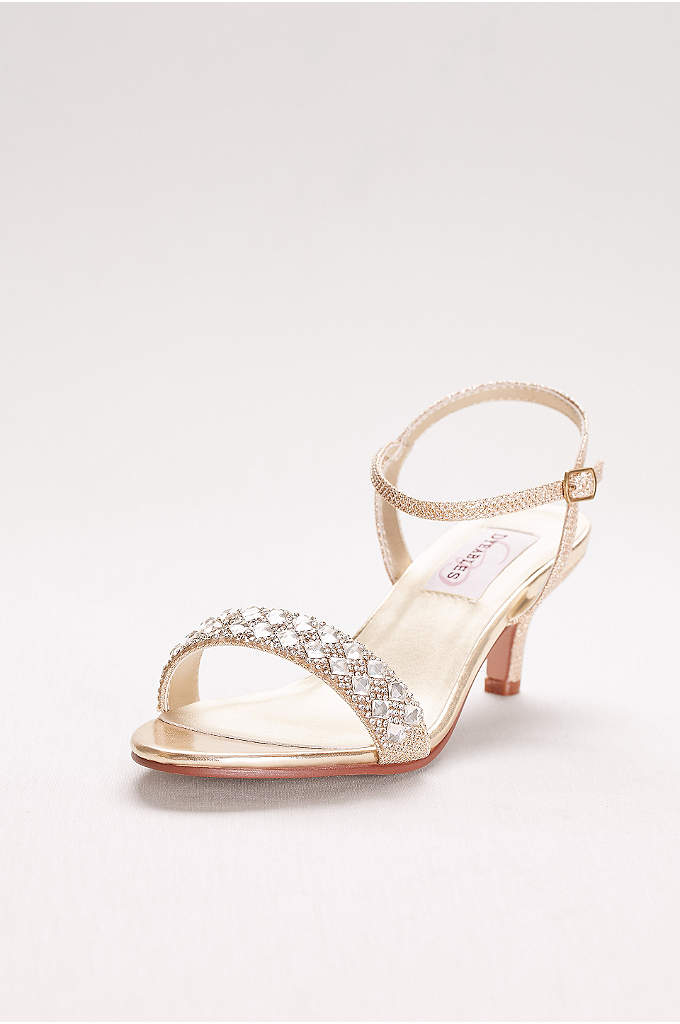 Metallic Low Heel Sandals with Crystal Strap - A row of crystals across the front strap