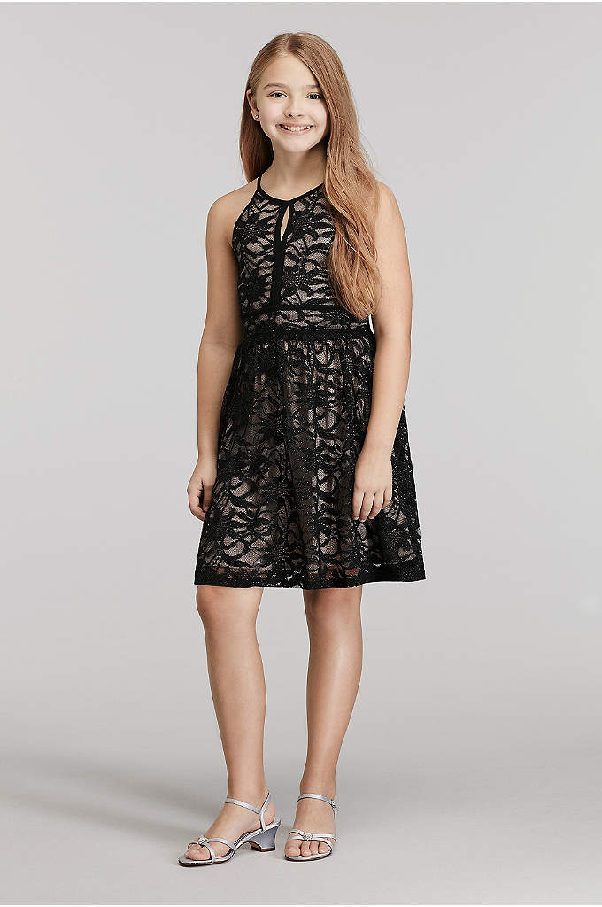 Short Glitter Lace High Neck Dress with Tie Back
