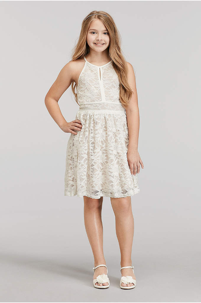 Short Glitter Lace High Neck Dress with Tie - A perfect dress for your junior bridesmaid! This