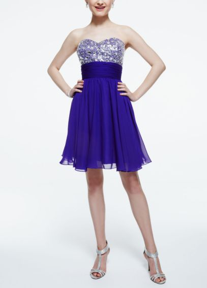Strapless Chiffon Dress with Cut Glass Beading 52027