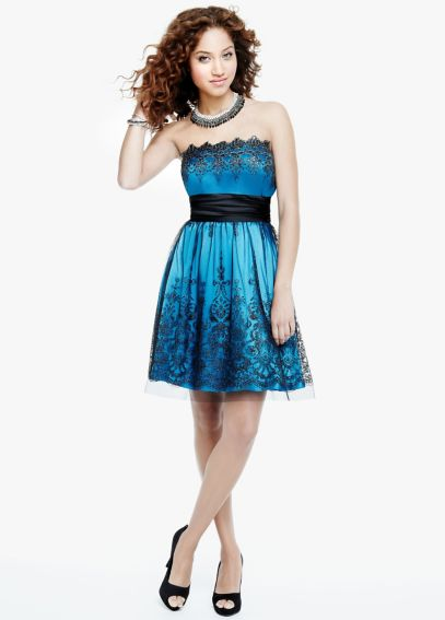 Strapless Sequin Embroidered Dress 52213