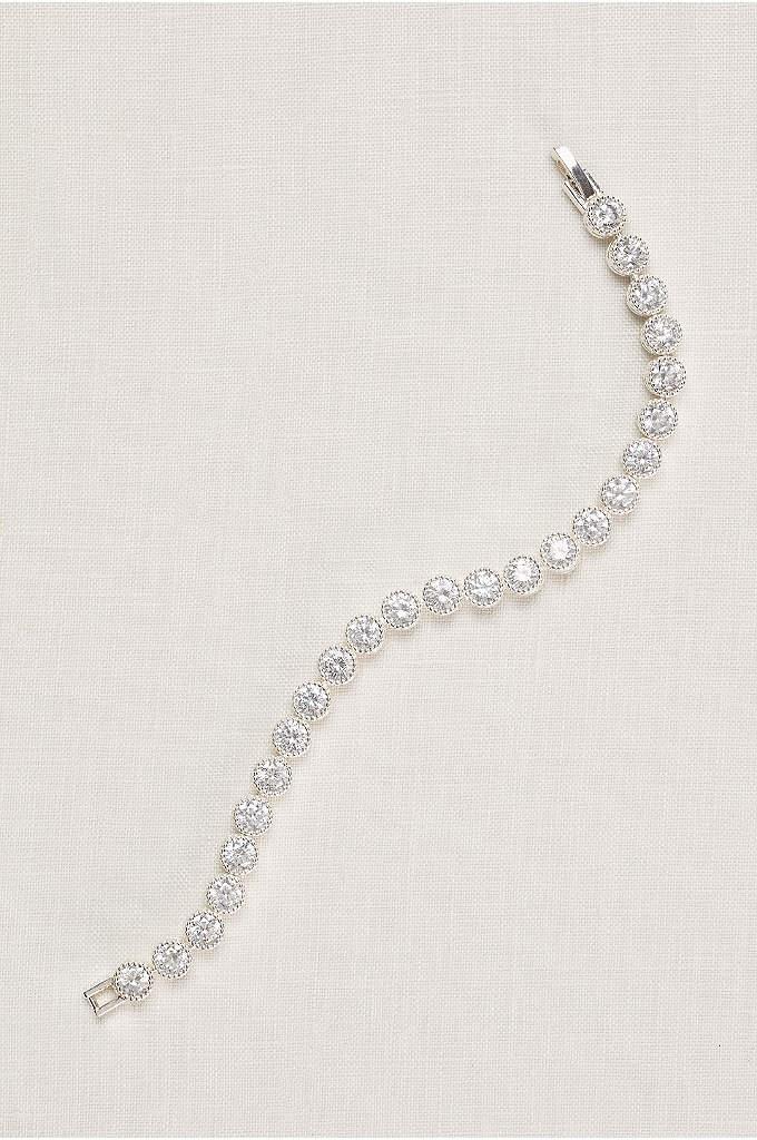 Pave Circles Cubic Zirconia Tennis Bracelet - Round cubic zirconia gems make this tennis bracelet