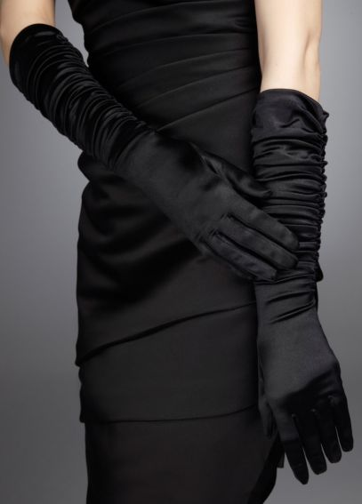 Stretch Shiny Satin Ruched Glove 525149